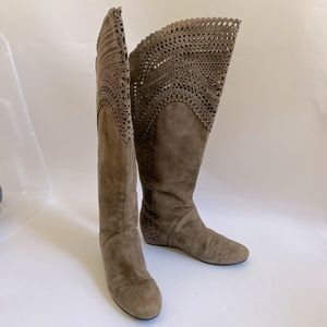 7.5 ISOLA suede leather laser cut knee high boots
